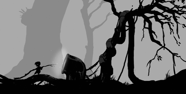 Image is grayscale, the forefront black being a young boy holding a stick in front of a glowing, bent pipe, while behind both is a crooked tree.