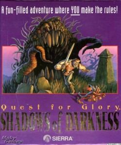 Box art for QFGIV, featuring the hero terrorizing a small imp, with a larger, betoothed plant figure about to devour him from behind.
