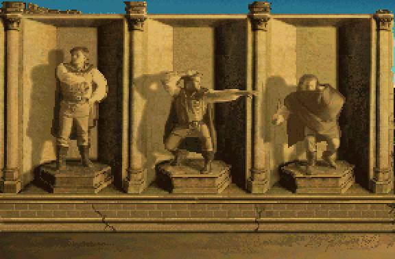 Quest for Glory I Character Roster set in sepia: (From Left to Right) Fighter, Wizard, Thief