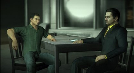 Scene from Alpha Protocol: Michael Thorton (left) leaning in his chair while speaking with Henry Leland (right) at a table.