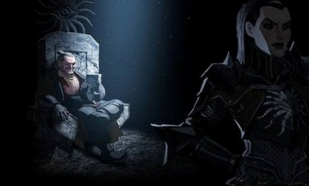 Varric (left) sits in a throne, well-lit and holding a goblet while Cassandra (right) stands facing away from him in the shadows.