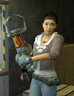 Alyx, a woman of mixed heritage (Asian and black), wearing a jacket over a Black Mesa sweatshirt, jeans, and a loosely slung belt. She is holding the gravity gun.