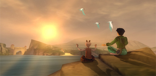 Jade and Fehn, an orphan who is a mixture of human and goat, are engaged in joga on a cliff, the sun rising to their left.