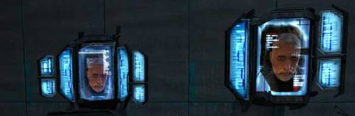 Dr. Breen's face as seen on two of the computer terminals in the Citadel itself.