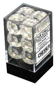 A set of Chessex dice in transparent container. Inside are a set of twelve six-sided dice, these being clear.