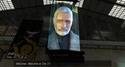 "A monitor suspended above the player that holds Dr. Breen's face. He is an elderly white male with a full head of hair and beard, both white in color. The subtitles state, ""Welcome. Welcome to City 17."""