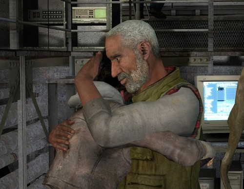 Alyx and Eli embracing in a laboratory.