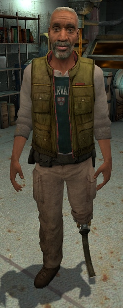 Eli Vance, an older black male with white hair and beard. His left leg is replaced by a prosthetic, and he wears shirt that states Harvard under a green vest.
