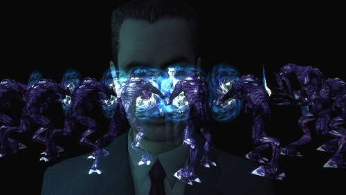 An image of multiple Vortigaunts proffering a line between G-Man's body and Gordon's, with an image of G-Man's face imposed over it.
