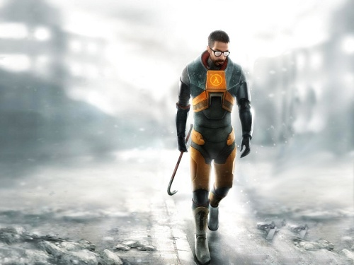 Gordon Freeman in his HEV suit, carrying a crowbar in his right hand.