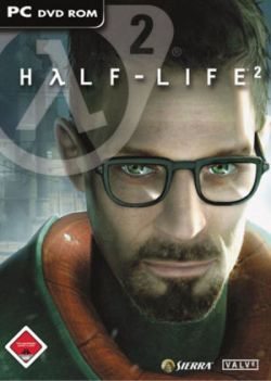 The cover of Half-Life 2. It states the name of the game at top, with the central focus being Gordon Freeman, a white male in his mid-twenties, wearing glasses, sporting a vandyke, and having short-cropped brown hair.