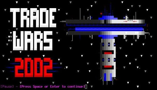 "The splash screen for Trade Wars. The title, ""Trade Wars 2002"" scrolls down the left-hand side, while a space station hovers right."