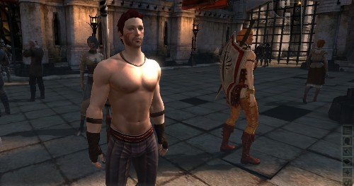 Zel Hawke standing, shirtless, in The Gallows. Aveline turns her back to him.