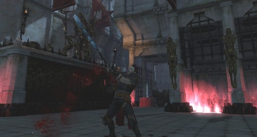 Zel Hawke removing the staff from his chest to see an outporing of blood spurt out.