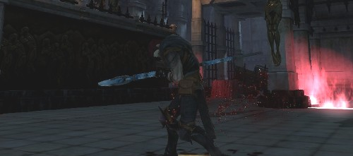 Zel Hawke stabbing his staff into his chest.