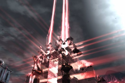 The Chantry of Kirkwall being blown up, emitting a red light.