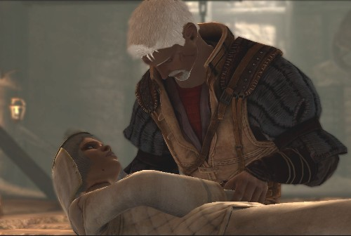 Redgren Hawke holding the Frankensteined corpse of his mother, Leandra.