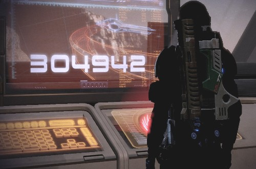 Ronia Shepard standing in front of a panel displaying the population she will sacrifice.