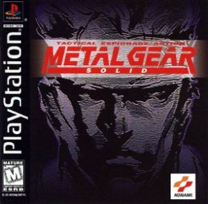 Metal Gear Solid's  box art for the PlayStation. It has the name  of the game over the forehead of the shadowy face of Solid Snake.