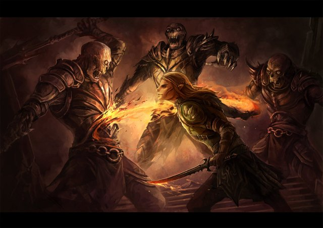 Fanart of Zevran by *sandara. He is fighting three Darkspawn.