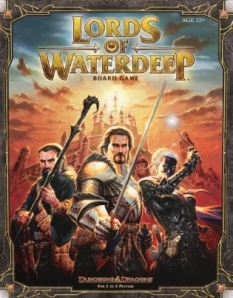 Lords of Waterdeep's cover, featuring two white men and a half-drow woman.