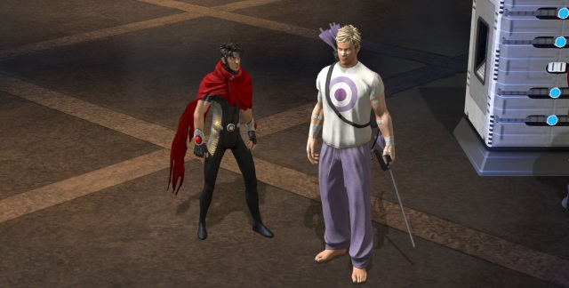 "My Wiccan character standing next to the boyfriend's ""Hawkguy"" character."